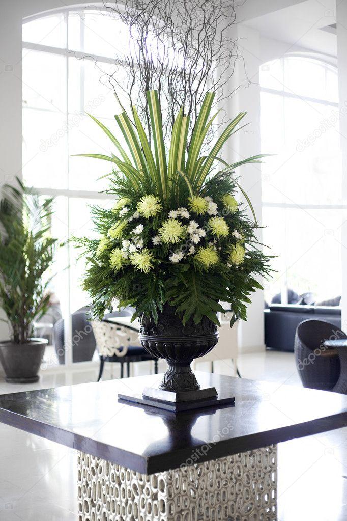 Beautiful flower arrangement in large foyer