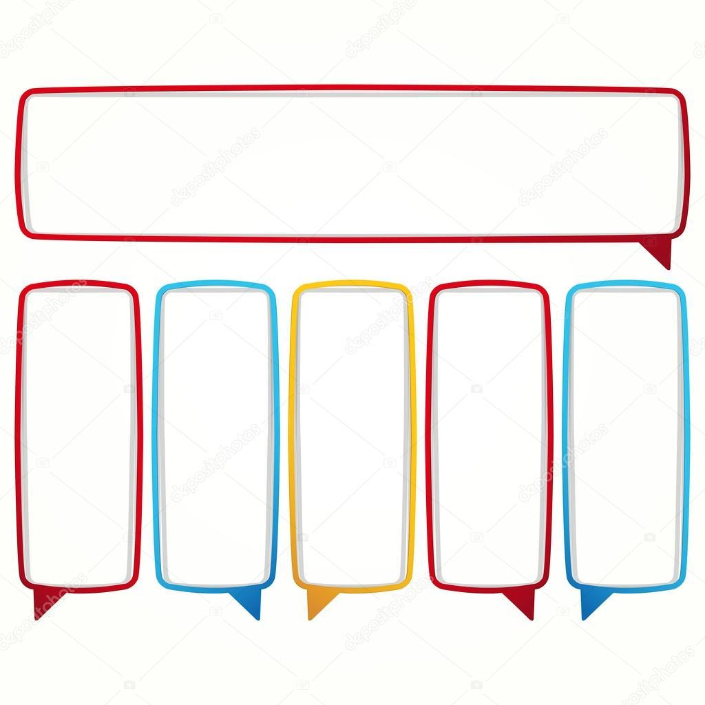 Marcos colorido discurso burbuja — Vector de stock © OlgaYakovenko ...