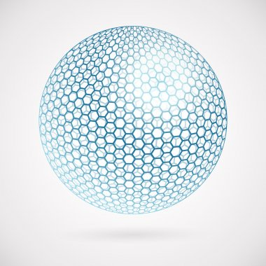 Abstract sphere of hexagons. vector background