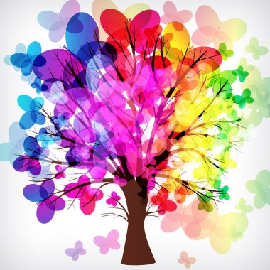 abstract background, tree with branches made of colorful butterf