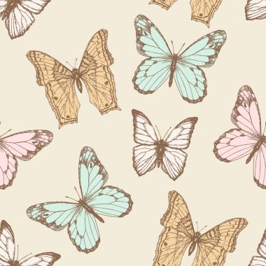 Battefly vintage seamless pattern with blot. Spring background for your design and scrapbooking . clip art vector