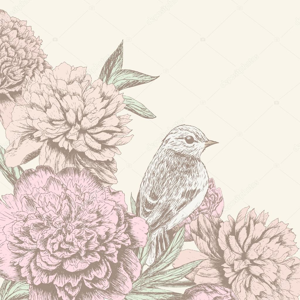 Vintage flower background with bird