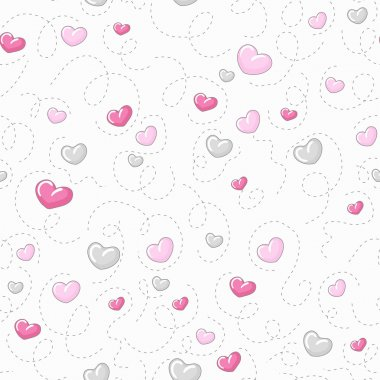 Cute Valentines seamless pattern. Wedding background with hearts clip art vector