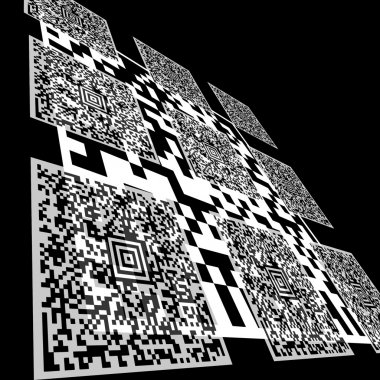 Abstract barcode background. Aztec code.