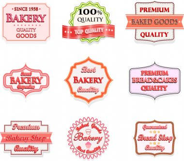 Collection of vintage bakery logo badges and labels