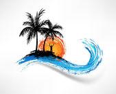 palmy a vlny oceánu. Muž před západem slunce