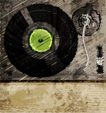 Retro music background, color sketch of turntable