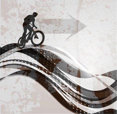 Vector illustration of BMX cyclist on rainbow