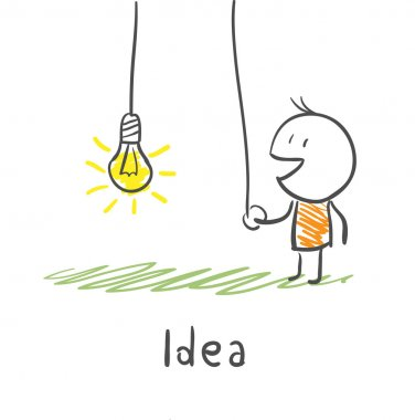 A person includes a light bulb. The concept of the idea. Illustr
