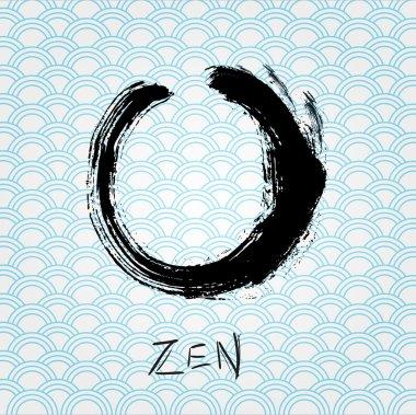 Zen calligraphy brushstroke circle. Oriental character.