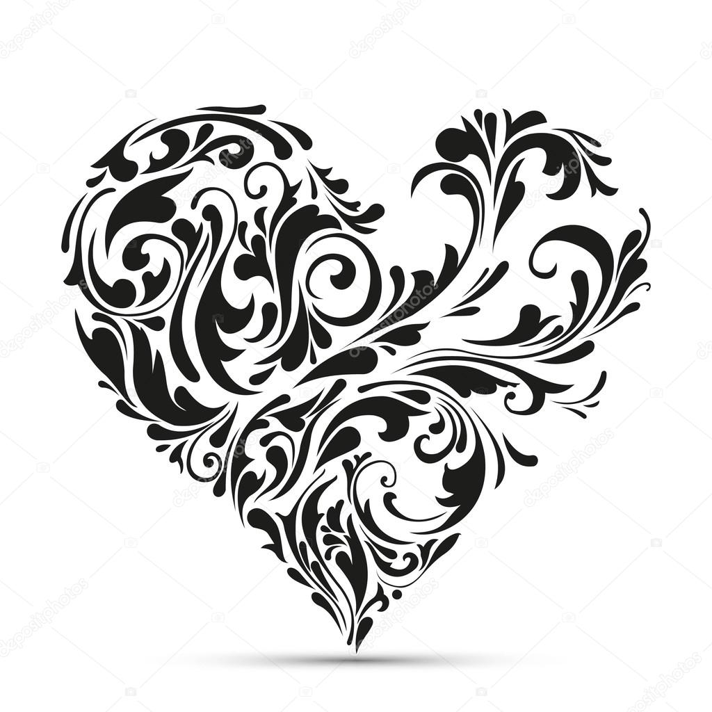 abstract floral heart. love concept