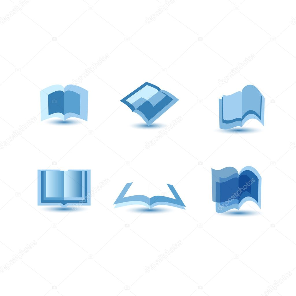 Illustration of blue book icons