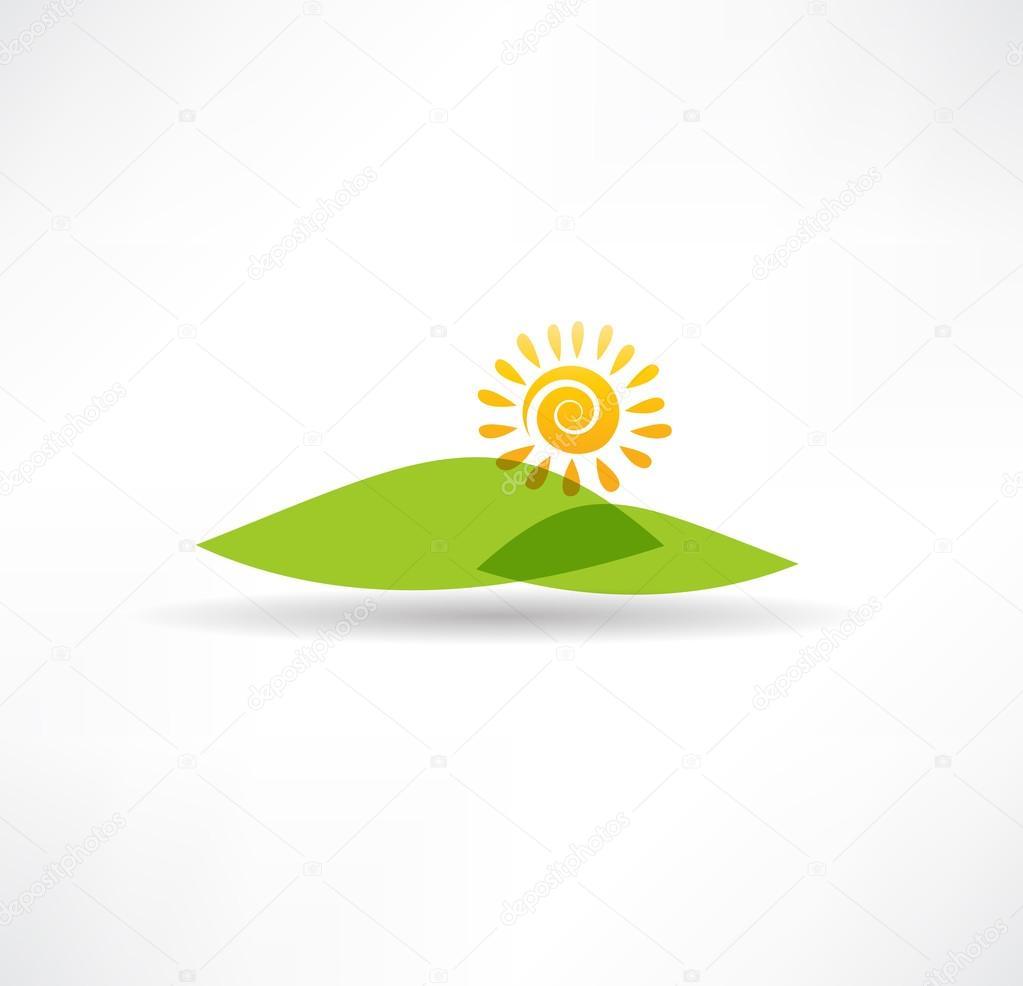 Sun and mountains icon
