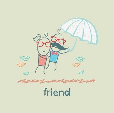 Cartoon friends under umbrella