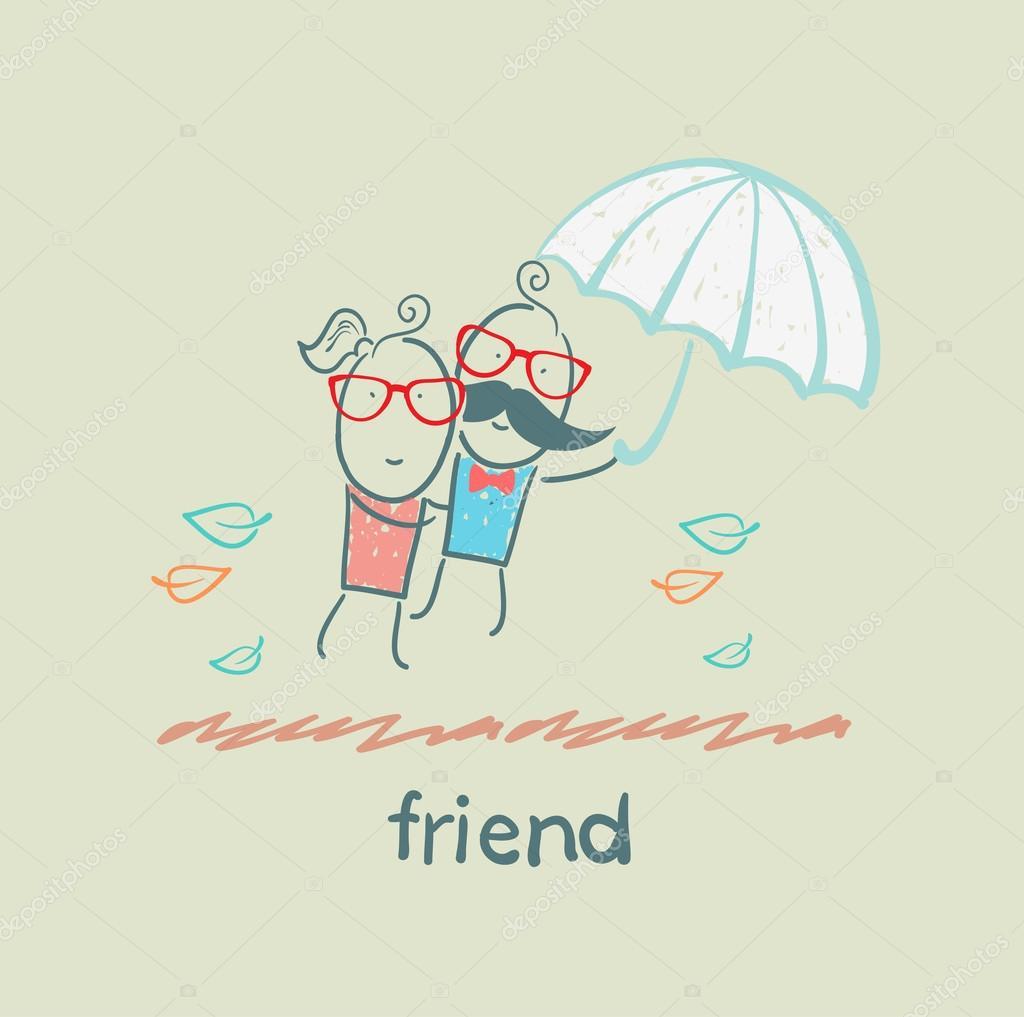 cartoon friends under umbrella u2014 stock vector file404 30385375