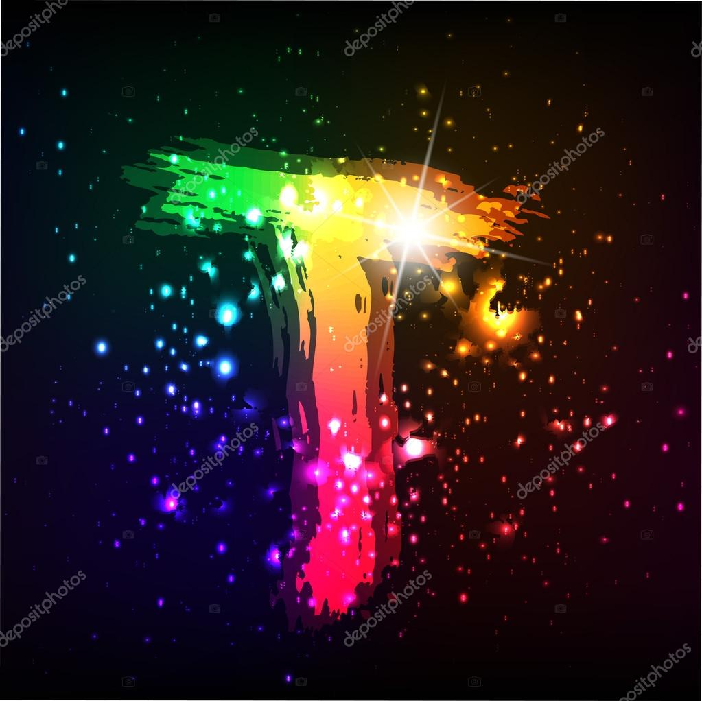 Glowing shiny graffiti letter on space background  Letter T