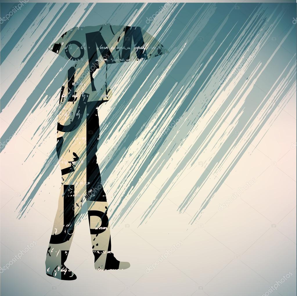 Man running in the rain.