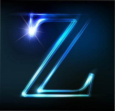 Glowing neon font. Shiny letter Z