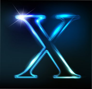 Glowing neon font. Shiny letter X
