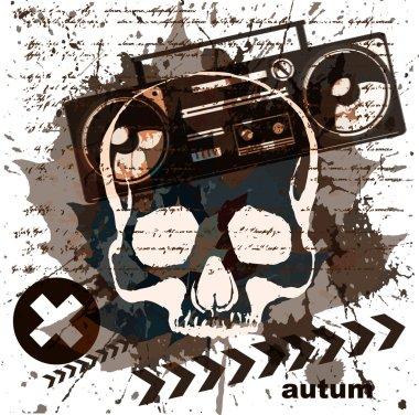 Vintage radio cassette recorder grunge background