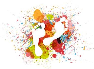Stamp feet on ink colorful splash.