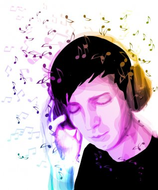 A young man listens to music.