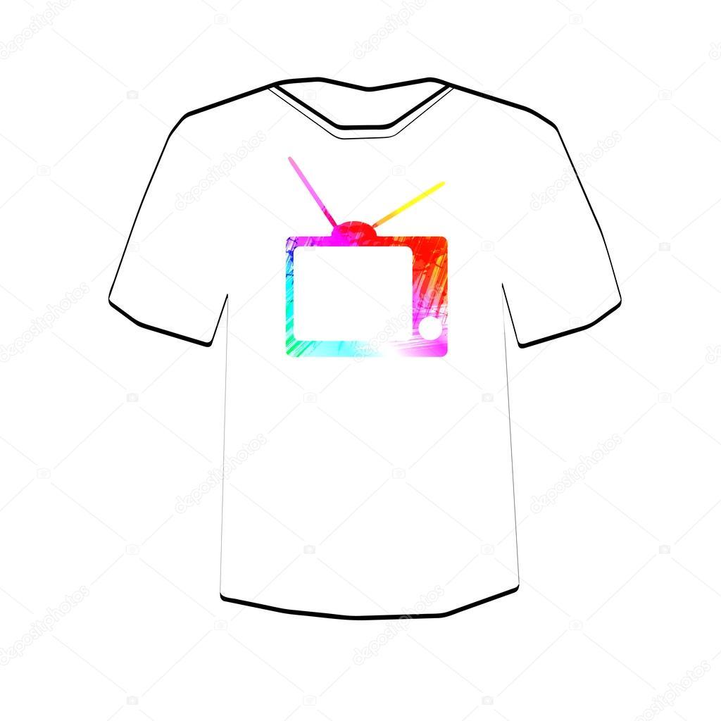 Retro Tv Background T Shirt Design Template Stock Vector