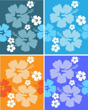 Set seamless Hibiscus flower Background