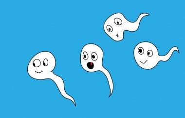 Sperms. Funny cartoon illustration.