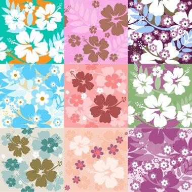 Big set Hibiscus flower seamless Background