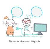 Diagnóza ultrazvuku lékař pracuje s těhotnou pacienta