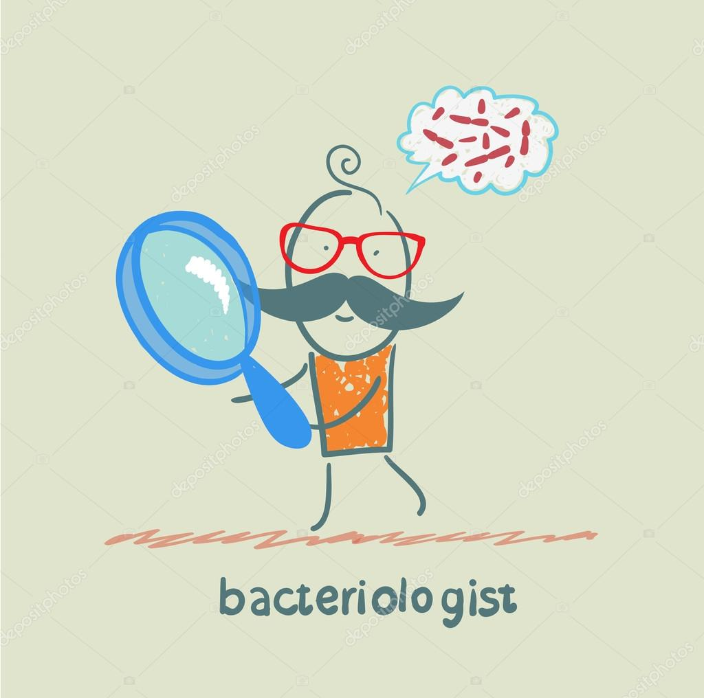 bacteriologist looks through a magnifying glass on germs and thinks of them