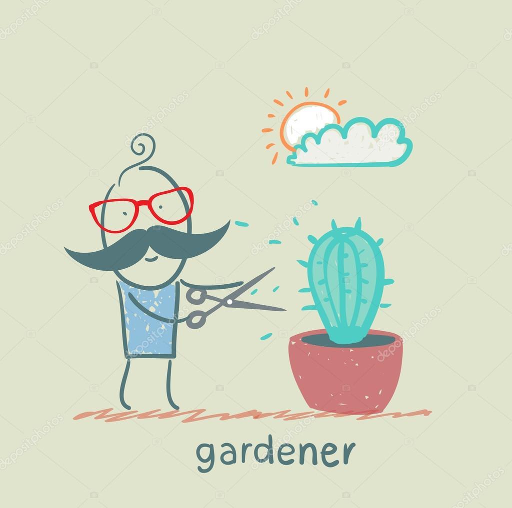 gardener mows cactus