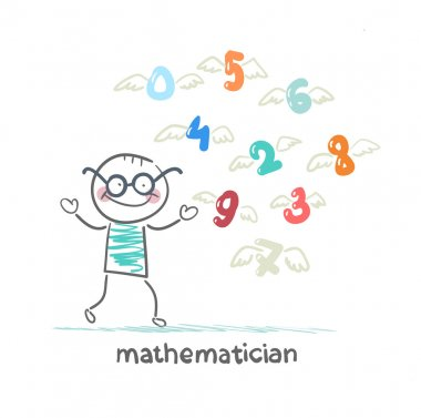 mathematician stands next to the flying figures