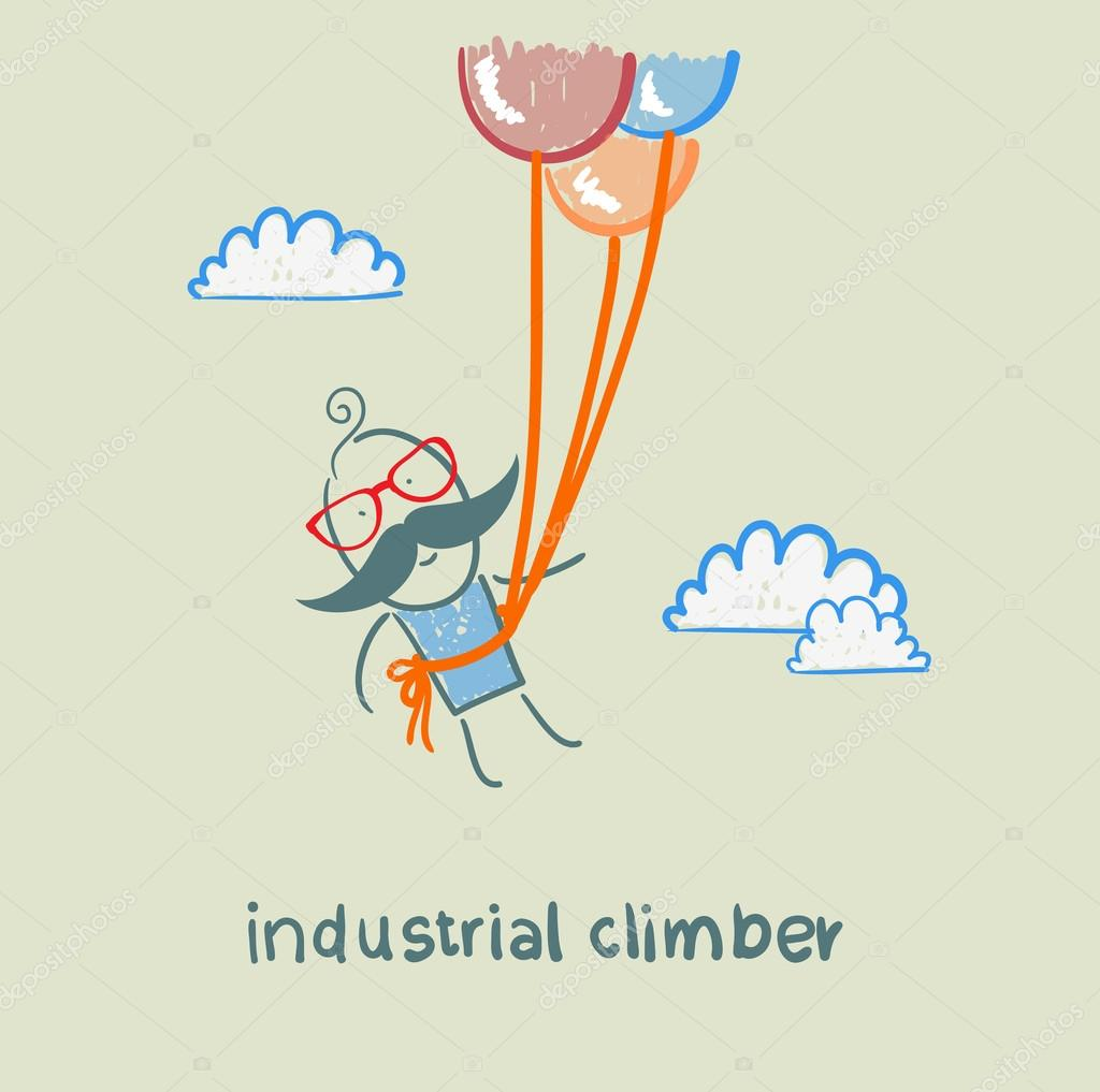 industrial climber flies on balloons