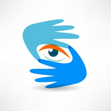 Eye hand abstraction icon