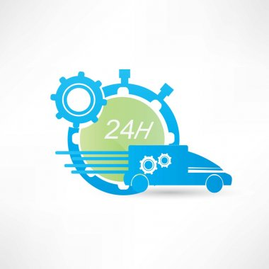 delivery truck around the clock icon
