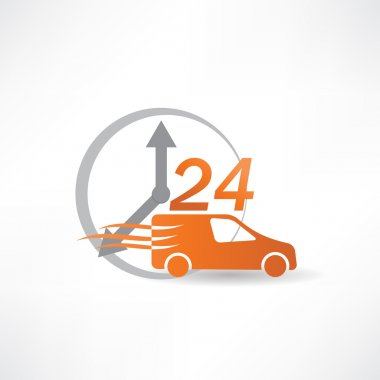 delivery car twenty-four hours a day icon