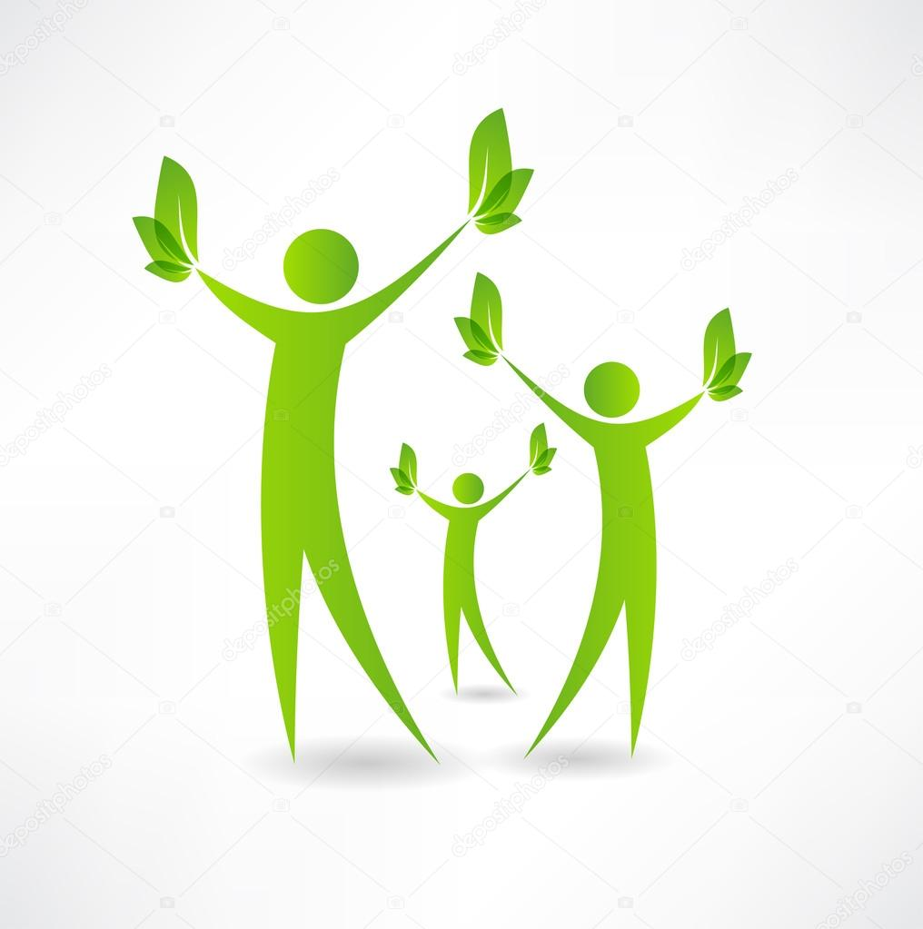 Group of people holding green leaves in the hands of icon