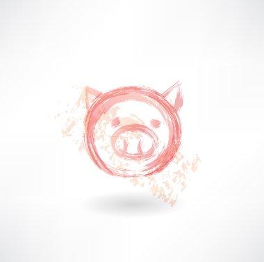 Pig's head grunge icon