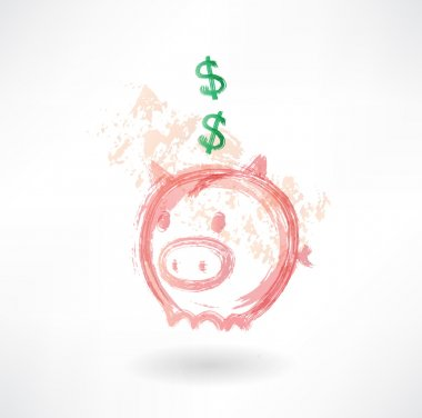 Piggy moneybox grunge icon