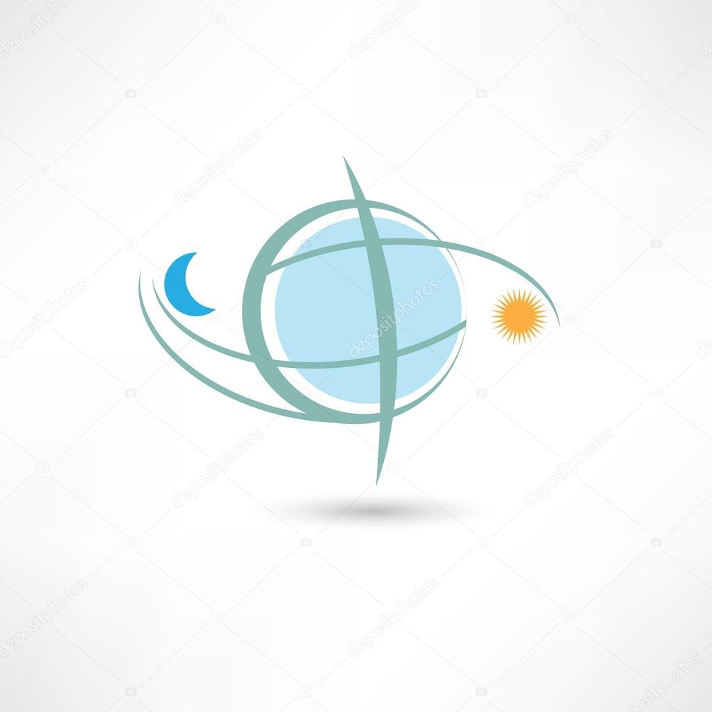 b9b56b28c6 απλή πλανήτη σύμβολο με Σελήνη και ο ήλιος — Διανυσματικό Αρχείο ...