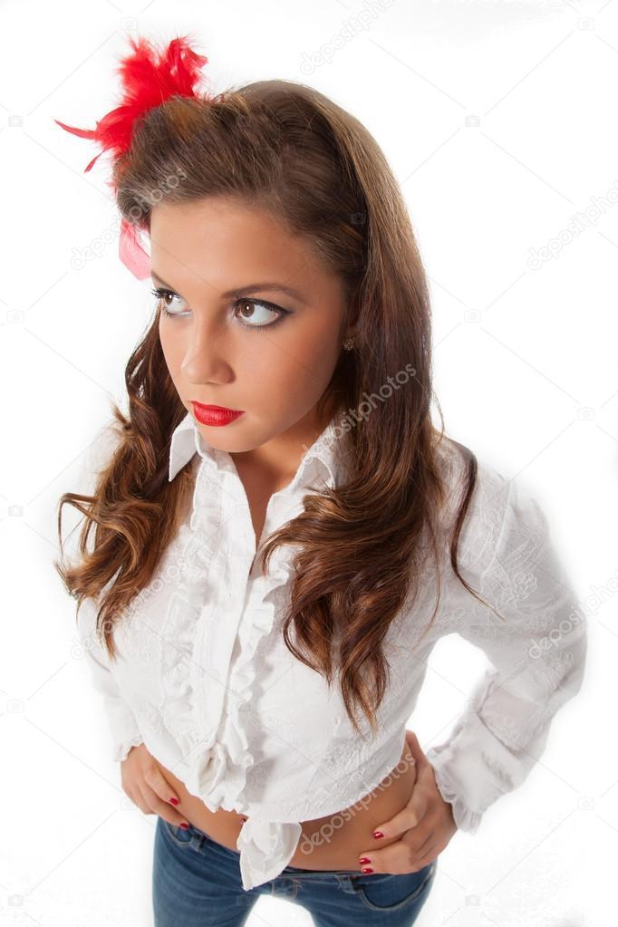 Sexy Pin Up Teenage Girl Stock Photo