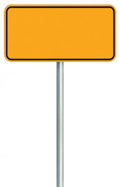 Blank Yellow Road Sign Isolated, Large Warning Copy Space, Black