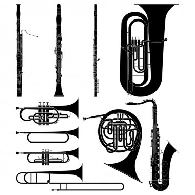 Layered vector illustration of collected Wind Instruments. clip art vector