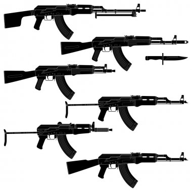 Layered vector illustration of collected Assault rifles. stock vector