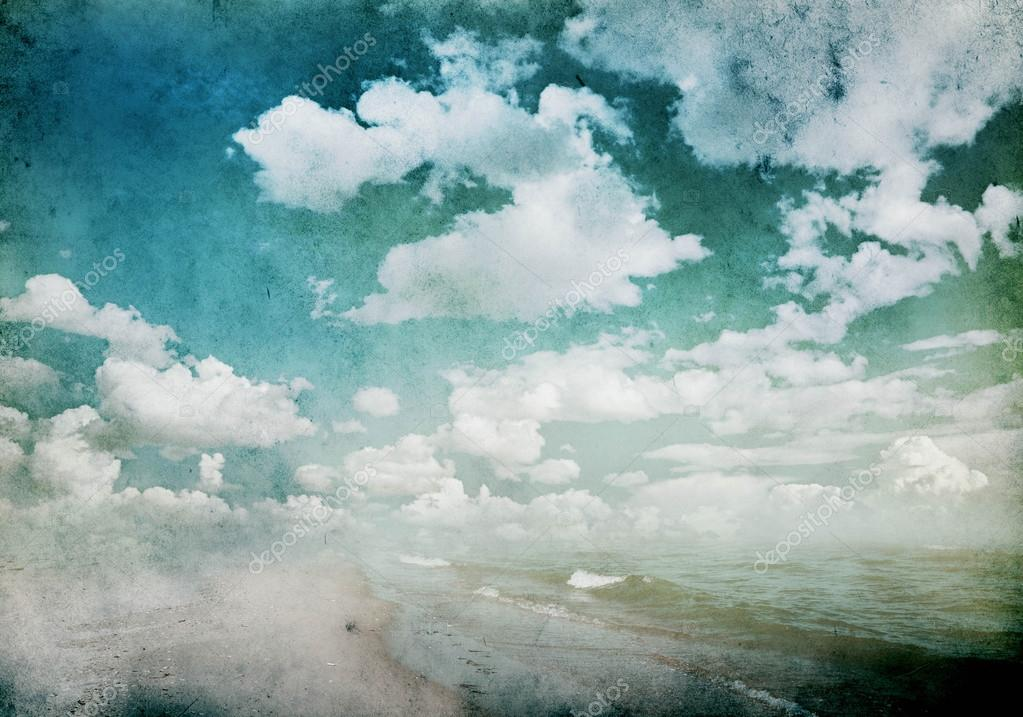 Grunge background with clouds and sea view