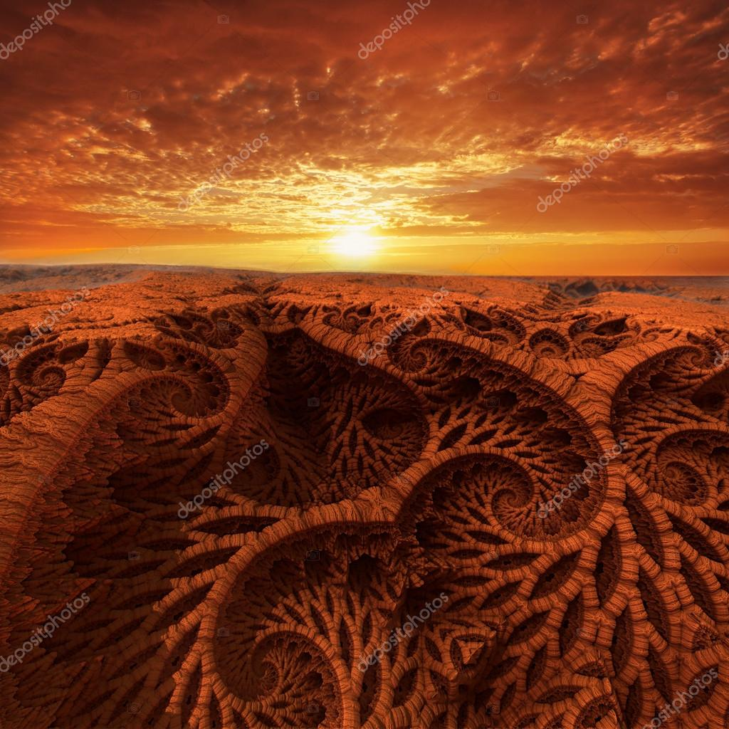 Virtual landscape with sunset