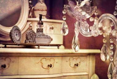 Vintage interior with glass chandelier crystals