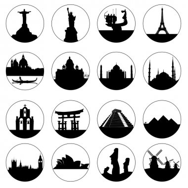 Round buttons of famous places in the world on a white background stock vector